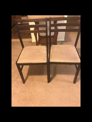New 2 brown wood chairs smoke pet free click on my profile picture choose my offers for more listings inbox me for Sale in Gaithersburg, MD