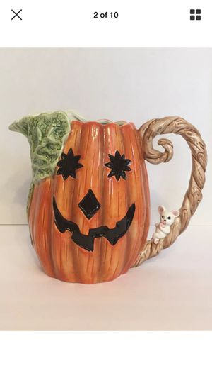 Fitz and Floyd Halloween Pumpkin Jack-O-Lantern Pitcher and Cups 1989 for Sale for sale  Woodstock, GA