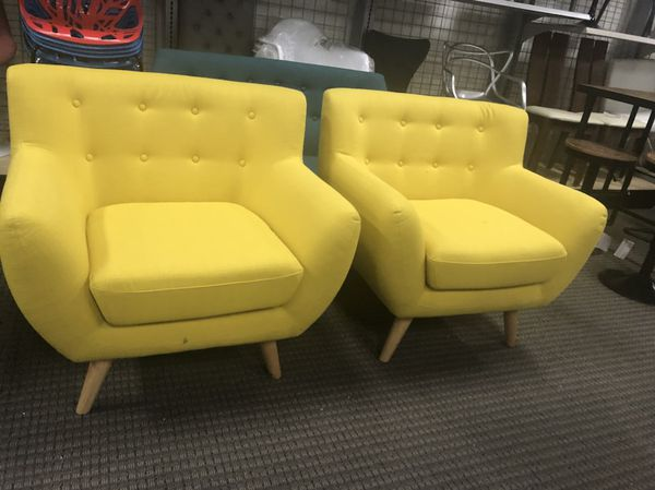 Mid century modern yellow fabric remark chairs