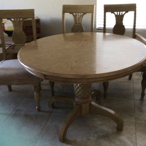 Pineapple kitchen table with four chairs wood for Sale in Queen Creek, AZ