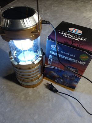 Solar zoom camping lamp AC rechargeable solar charge. LED lamp for Sale in Miami, FL