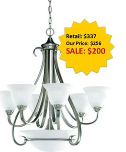 Torino 6-Light Brushed Nickel Chandelier with Etched Glass NEW for Sale in Davie,  FL