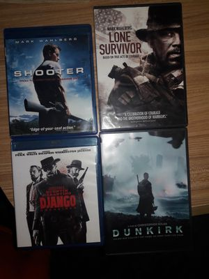 Shooter, Lone Survivor, Dunkirk and Django unchained. for Sale in Wichita, KS