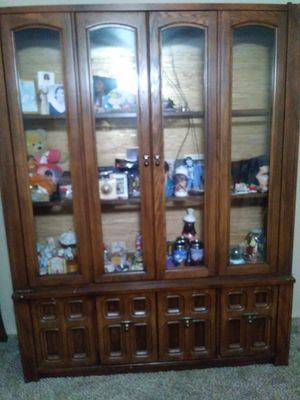 Solid Wood Hutch with working light for Sale in Jones, OK
