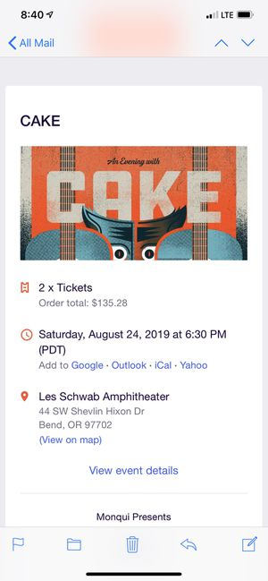 2 - Cake Tickets in Bend for Sale in Portland, OR