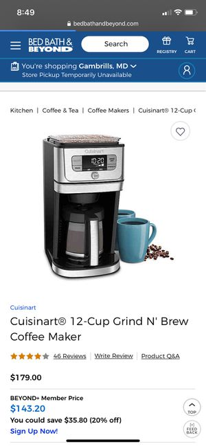 Coffee Maker - Never Used! for Sale in Bowie, MD