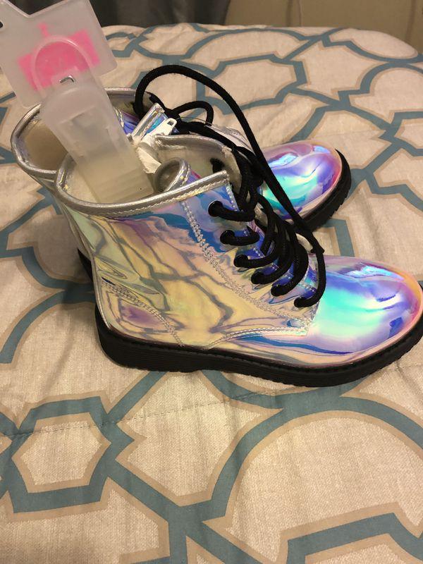 Girls Iridescent Boots