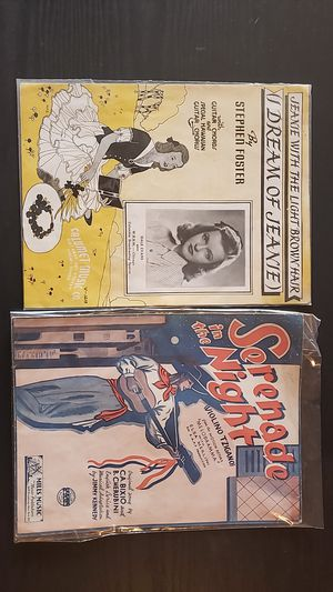 Jeanie with the light Brown hair/Serinade in the night sheet music 1936 and 1939 for Sale in Columbia, SC