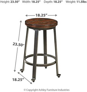 Bar Stool Counter Height Set of 2 Rustic Brown Industrial Small Space Solution SHIPPING ONLY for Sale in Fremont, CA