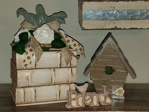 Home Decor! Unique Wooden Book Shape Tissue Box Cover/ Storage Case/Holder Organizer for Sale in Sanford, FL