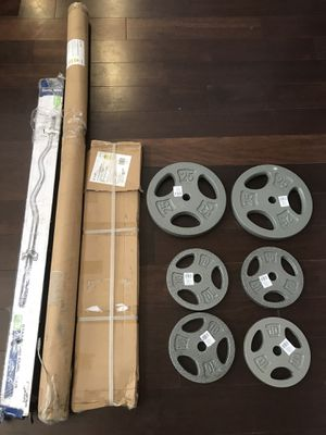 "Standard 60"" Straight Bar, Standard Curl Bar, Tricep Curl Bar, 90LBS Standard Weight Set Plates - All Included for Sale in Homeland, CA"