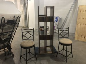 Tv wood stand, and two bar seat for Sale in New York, NY