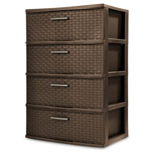 4 Drawer Wide Weave Tower Brown Size:15.88 x 21.88 x 31.75 Inches for Sale in Irvine, CA