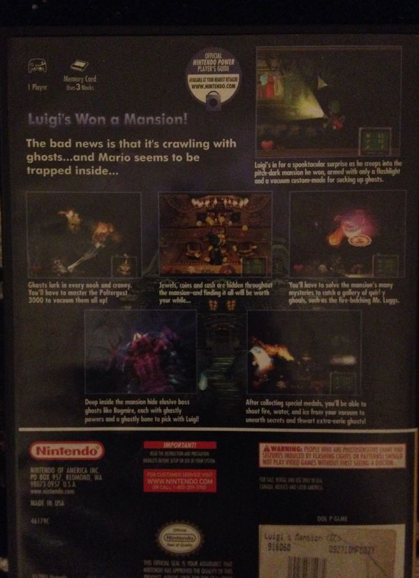 Luigi's Mansion exclusively for the Nintendo GameCube