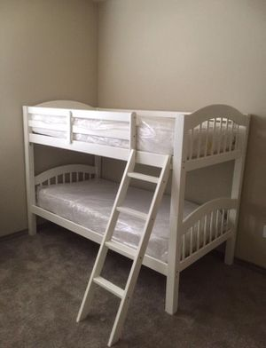 WHITE TWIN/TWIN BUNK BED WITH MATTRESS ALL NEW for Sale in Austin, TX