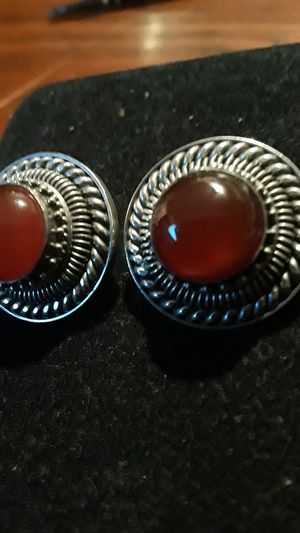 Absolutely Gorgeous Sterling Silver 925 Carnelian stone earrings for Sale in New York, NY