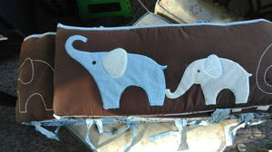 Crib bumper pads reversible and new changing pad and pillow for Sale in Winston, GA