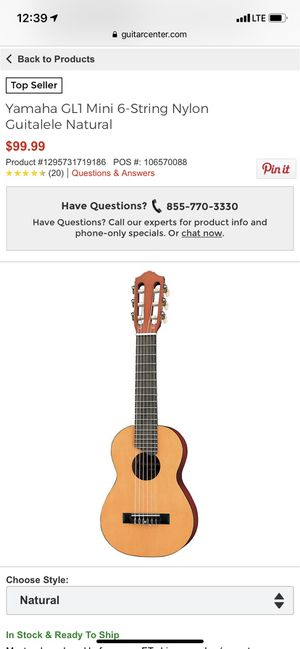 Yamaha GL1 Mini 6-String Nylon Guitalele Natural for Sale in Colorado Springs, CO