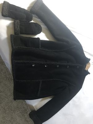 LL Bean Suede Sherpa Lined Jacket and Matching Mittens for Sale in San Diego, CA