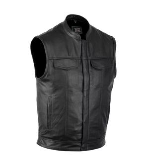Men's Motorcycle Club Leather Vest Concealed Carry Arms Solid Back Made In USA XL for Sale in Torrance, CA