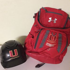 Under Armor Prospect Baseball Backpack and Helmet for Sale in Federal Way, WA
