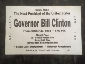 Governor Bill Clinton Admission Ticket for Sale in Huntsville, OH