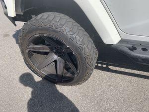 "(5) Tuff T12 jeep jk 22x12 wheels with mileking 35"" tires for Sale in Upper Marlboro, MD"