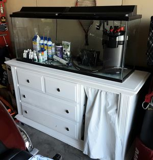 LOADED 55 Gallon Fish Tank & Customized Stand for Sale in Lathrop, CA