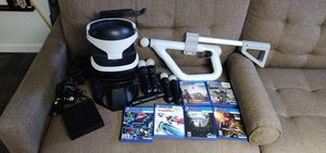 PlayStation VR headset complete PSVR bundle with Aim gun controller, 4 move controllers, 6 games for Sale in Aurora, CO