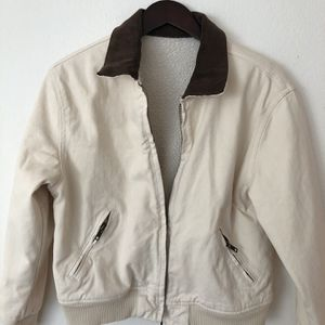 White Sherpa Bomber Jacket With Brown Suede Collar for Sale in Newport Beach, CA
