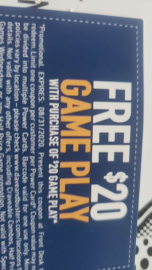 Dave and buster's free 20 dollar gameplay with a 20 dollar gameplay purchase for Sale in Virginia Beach, VA