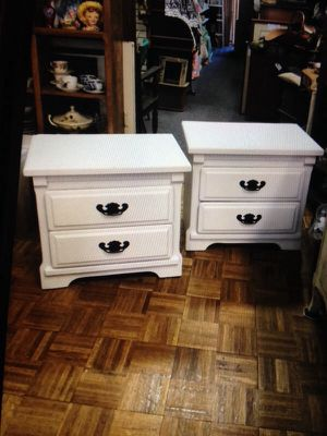 Pair of white shabby chic nightstand side table nightstands for Sale in San Diego, CA
