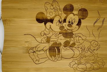 Mickey and minnie camping laser engraved bamboo high quality cuttingboard pop gift for Sale in Los Angeles,  CA