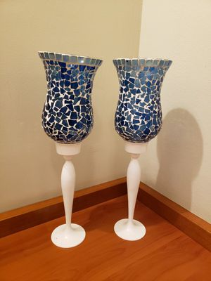 Two white and blue mosiac glass candle holders for Sale in Beverly Hills, CA