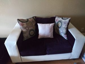 Authentic suede purple and leather white couches with footrest/futon for Sale in DeSoto, TX