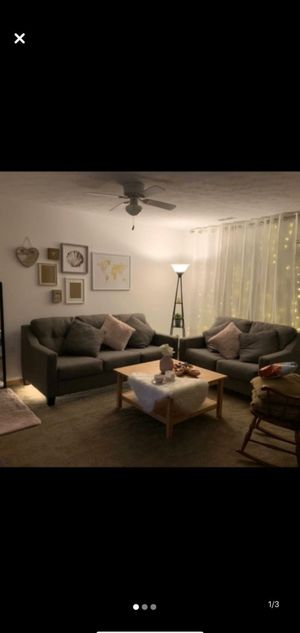 Gray Sofa AND Loveseat + 6 pillows for Sale in Fort Wayne, IN