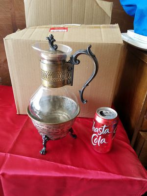 Antique silver and glass coffee pot and warmer for Sale in Orosi, CA