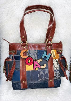 Patchwork style purse with dangling COACH spellout for Sale in Chandler, AZ