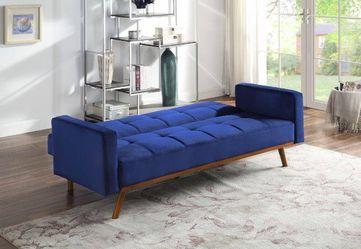 MID CENTURY MODERN BLUE VELVET FUTON ADJUSTABLE BED SOFA / SILLON CAMA for Sale in Downey,  CA