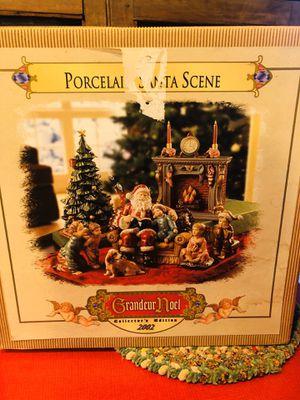 Grandeur Noel Porcelain Santa Claus Fireplace Scene Chimney Children Dog Pets for Sale in Rancho Cucamonga, CA
