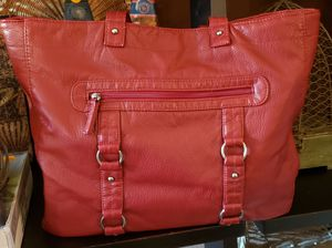 Nice soft red tote/handbag/shoulder bag. Open center with snap close ...12t, 14w, 3d, 12 in strap drop for Sale in St. Louis, MO