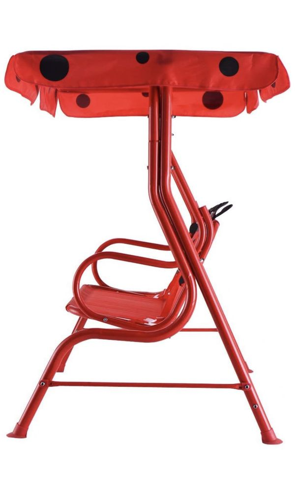 Patio Swing, Porch Swing with Safety Belt, 2 Seats Outdoor Lounge Chair Hammock with Canopy, Patio Deck Furniture for Kids (Ladybug Pattern,Red)