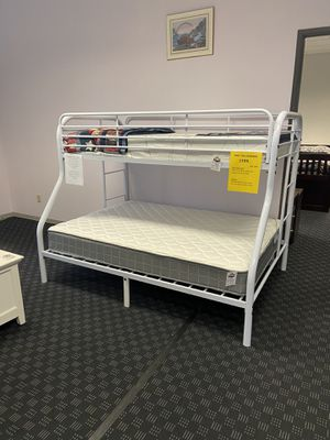 Metal Bunk Bed Twin Over Full in Red, White or Black / Twin Mattresses Start at $99 for Sale in Vancouver, WA