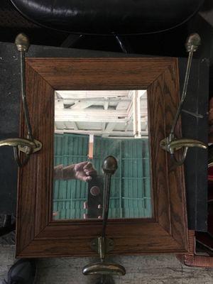 Antique oak wall mirror with brass hooks for Sale in Whittier, CA