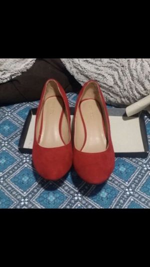 Red suede heels wedges women's shoes sz 8 great for Christmas! Party wedding for Sale in Silver Spring, MD