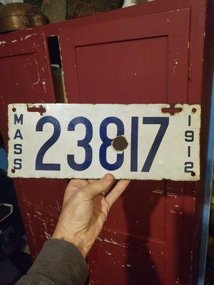 1912 Massachusetts porcelain license plate for Sale in Columbus, OH