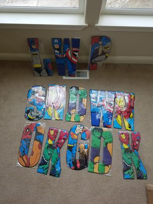 13 bulk lot Superhero letters huge embossed metal signs for Sale in Vancouver, WA