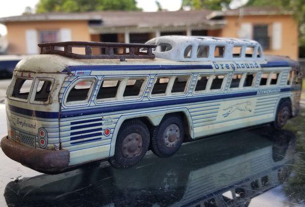 Antique Greyhound Tin Friction Toy Bus