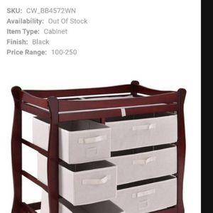 Solid Wood Dark Brown Baby Changing Table 6 Storage Drawers for Sale in Fontana, CA