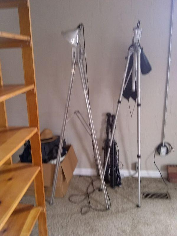 Photographer Equipment - Tripod Lights Stand, Tripod Camera Stand and 2 Small Tripod Light Stands